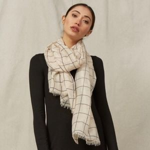 RACHEL PALLY Window Pane Plaid Scarf Cream OS